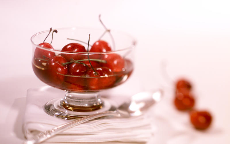Cherries with plum wine