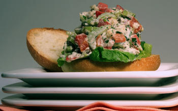 Grilled halibut salad sandwiches