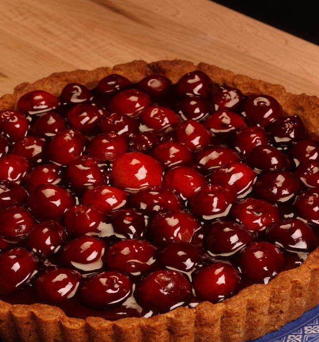 Chocolate and cherry tart