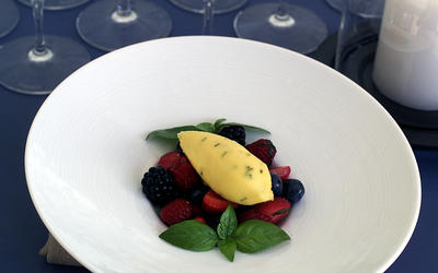 Salad of Berries With Muscat, Orange Basil Sorbet