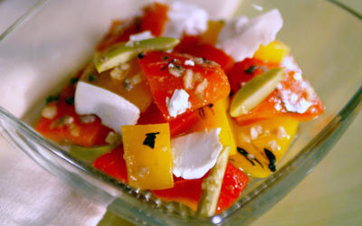 Salad of roasted peppers and ricotta salata
