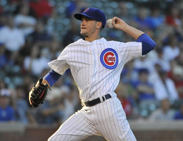 Cubs starting pitcher Chris Rusin against the Dodgers.