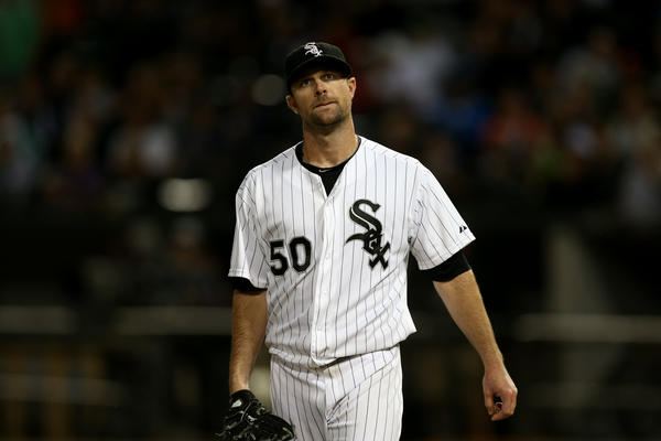 White Sox starting pitcher John Danks reacts after giving up a single to Tigers hitter Prince Fielder.