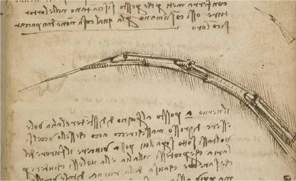 A page from a 1505 notebook created by Leonardo da Vinci, in which he explored the mechanics of flight.