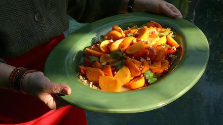 Fuyu persimmon salad with cumin-lime vinaigrette