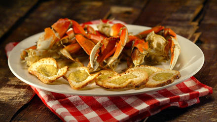 Cold cracked Dungeness crab with crab toasts