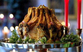 Crown roast of pork stuffed with wild rice and dried fruit