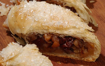 Quince and dried cherry strudel
