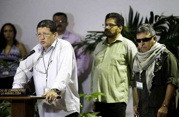 Pablo Catatumbo, head of the western bloc of the Revolutionary Armed Forces of Colombia, or FARC, speaks at a news conference in Havana, where rebels and the Colombian government are holding peace talks.