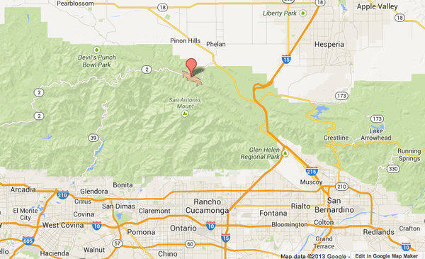 Map shows approximate location of Wrightwood in the Angeles National Forest, where the Sharp fire broke out Thursday afternoon.