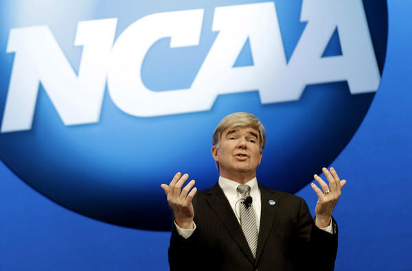 NCAA President Mark Emmert speaks at the organization's annual convention in Grapevine, Texas.