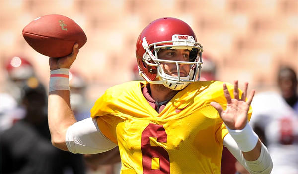 USC quarterback Cody Kessler took snaps with the Trojans' first team offense during a scrimmage at the Coliseum on Thursday.