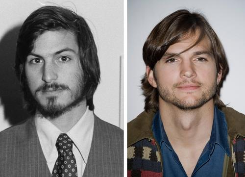 Steve Jobs, left, co-founder of Apple Computer Inc., is pictured in April 1977 at the first West Coast Computer Faire, where the Apple II computer debuted. Actor Ashton Kutcher, right, is seen in 2011.
