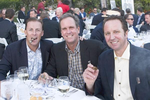 Todd Pickup, Joe Moody and Dieter Hissen help raise $50,000 for student scholarships at the 19th Gentlemen's Smoker at the Balboa Bay Club.