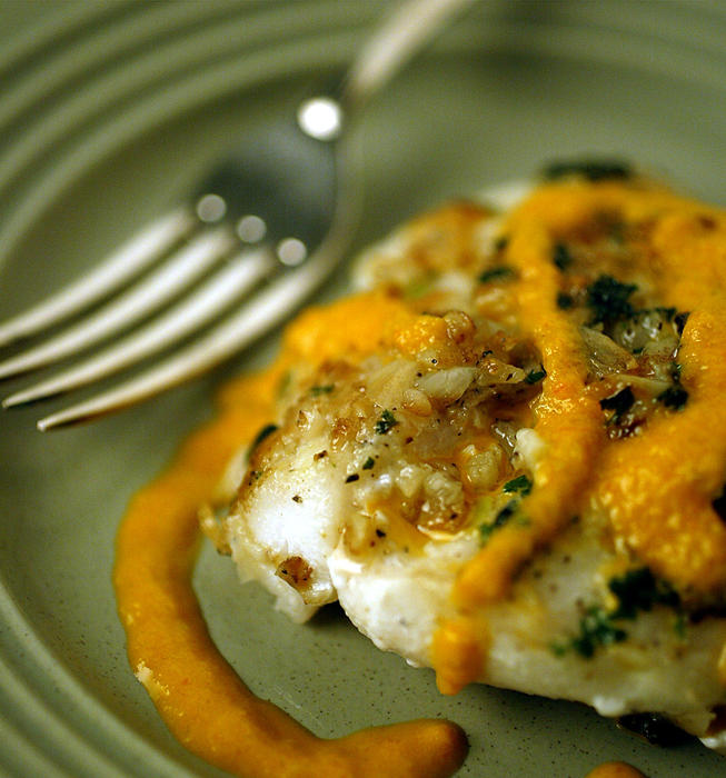 Garlic-crusted roughy