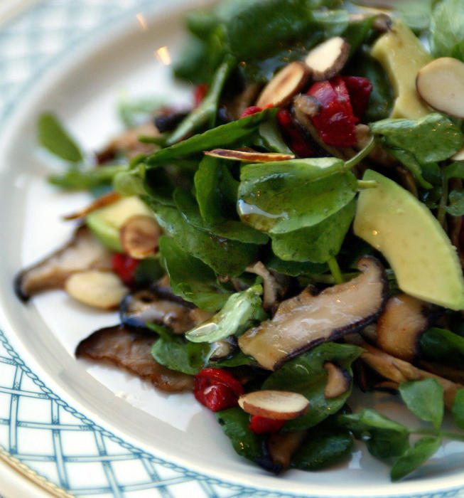 Watercress and avocado salad with lemon-soy dressing