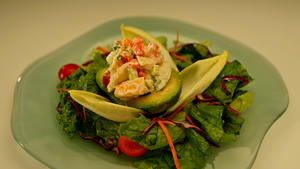 Lobster-stuffed avocado with champagne vinaigrette
