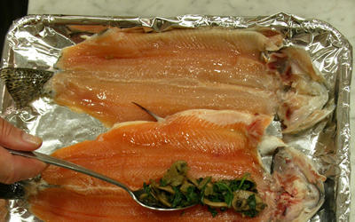 Trout stuffed with spinach and mushrooms