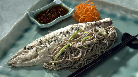 Poached mackerel with ginger-soy sauce and soba noodles