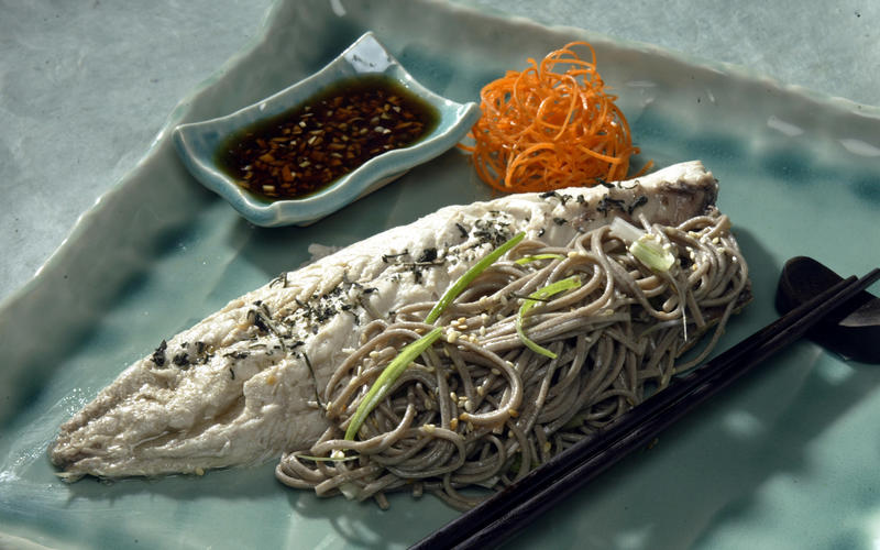 Recipe: Poached mackerel with ginger-soy sauce and soba noodles ...