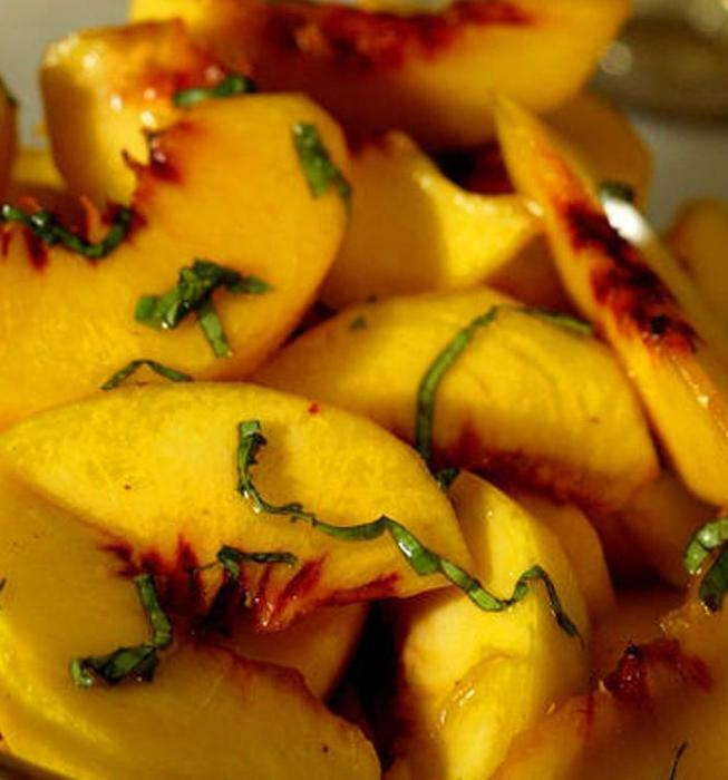 Grappa- marinated peach and basil salad