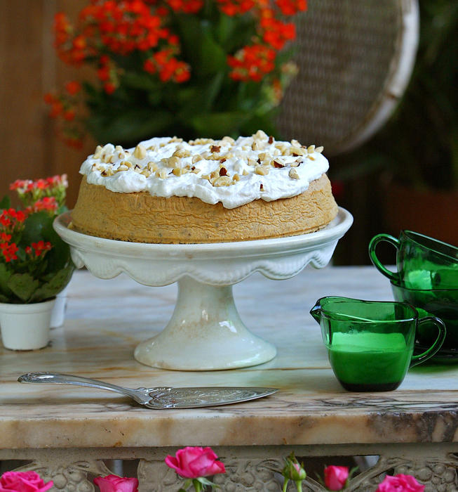 Hazelnut torte with bourbon-flavored whipped cream