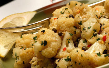 Garlicky braised cauliflower with capers