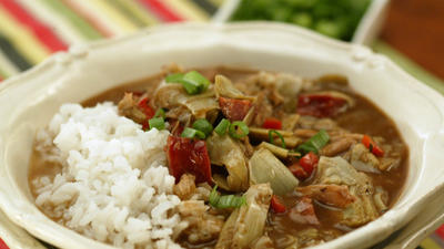 Turkey gumbo with artichokes and andouille