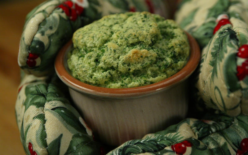 Souffle of bitter greens