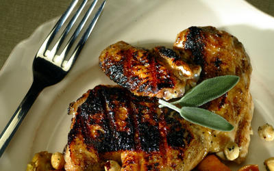 Grilled chicken with Brussels sprouts and butternut squash