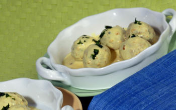 Rajasthani kadhi (chickpea dumplings in spicy sauce)