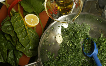 Greens with spicy lemon-cumin oil
