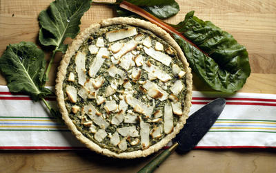 Tart of garlicky greens and black olives