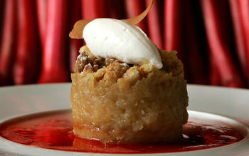 Spago's Pink Lady apple, fennel and rhubarb crumble with buttermilk sherbet