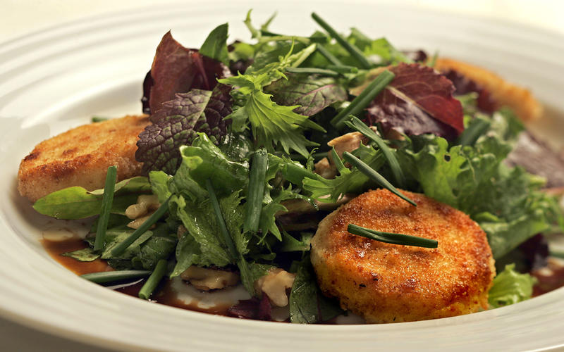 Pan-fried goat cheese salad with hazelnut vinaigrette