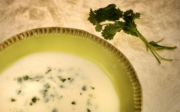 Potato leek soup with cilantro-anchovy chop