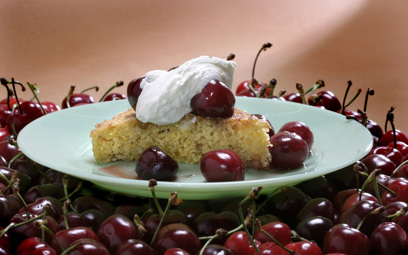 Polenta cake with roasted cherries