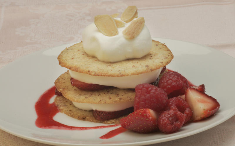 Strawberry napoleons with creme fraiche and almond tuiles