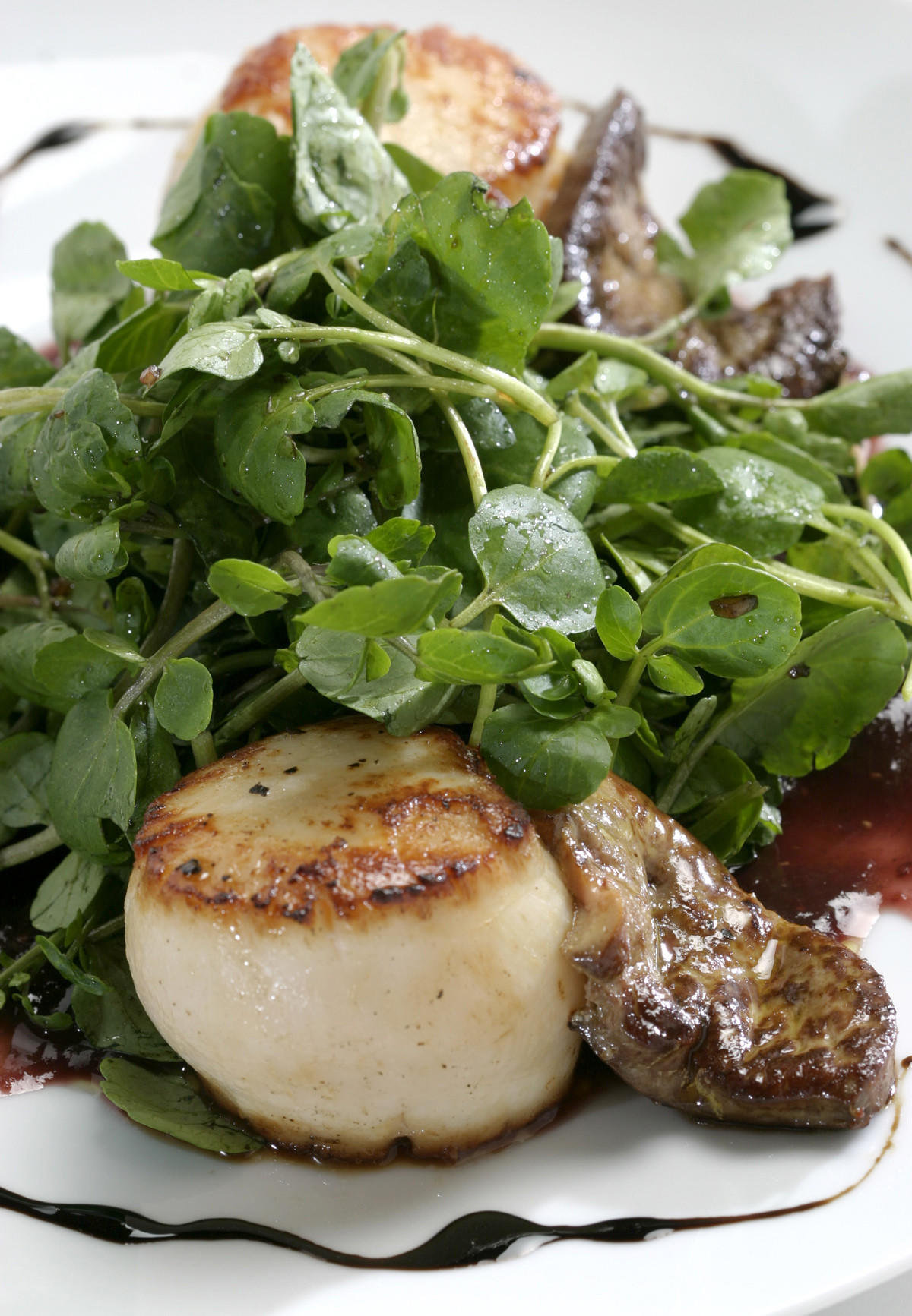 Recipe: Foie gras and diver scallops with fig puree and watercress - California Cookbook