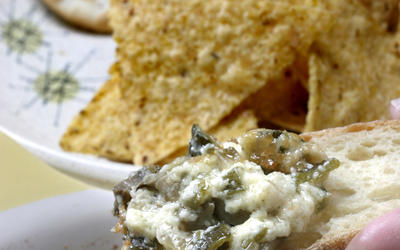 Warm, cheesy artichoke dip