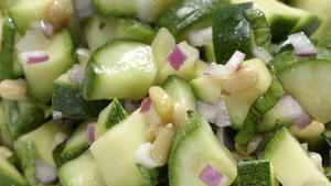 Zucchini and pine nut salad