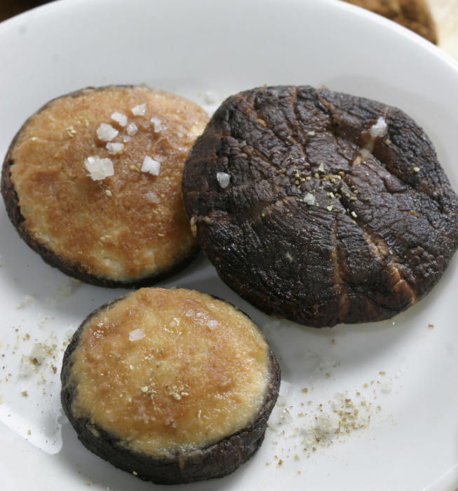 Tofu-stuffed shiitake mushrooms