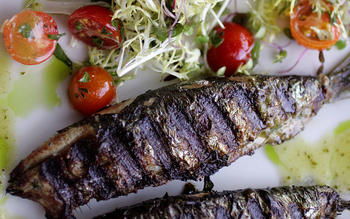 Monterey Bay sardines with frisee salad