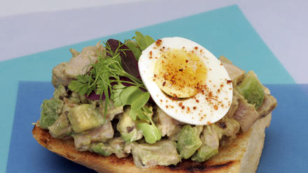 Ahi tuna and avocado salad on split baguette