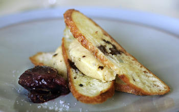 Whipped Brie de Meaux with Tellicherry pepper and fig compote