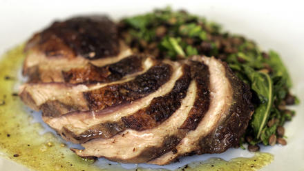 Coffee-infused duck breast with French lentil salad