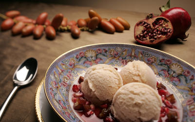 Apple and honey sorbet with pomegranate sauce