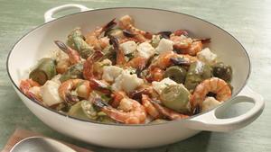 Grouper, shrimp and artichokes in tarragon cream