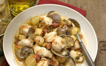 Monkfish and clams with chorizo