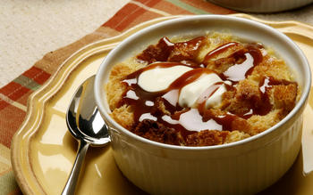Brown butter and quince bread pudding